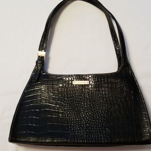 Vintage Liz Claiborne Faux Black Leather Croc Bag